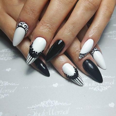 unghii cu gel negru cu alb