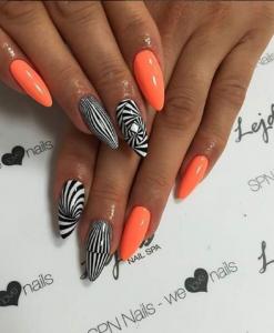 unghii cu gel portocali-zebra