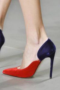 pantofi rosu cu albastru