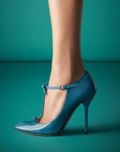 pantofi albastrii cu toc stileto