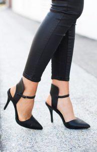 pantofi negru toc subtire