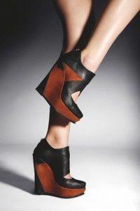 pantof platforme negru cu maro
