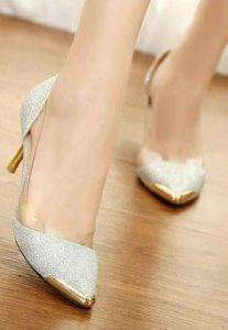 pantofi albi varf auriu
