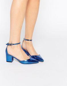pantofi albastrii toc patrat